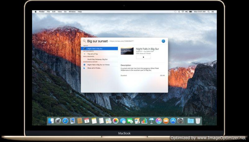 OS X 10.11 El Capitan Spotlight