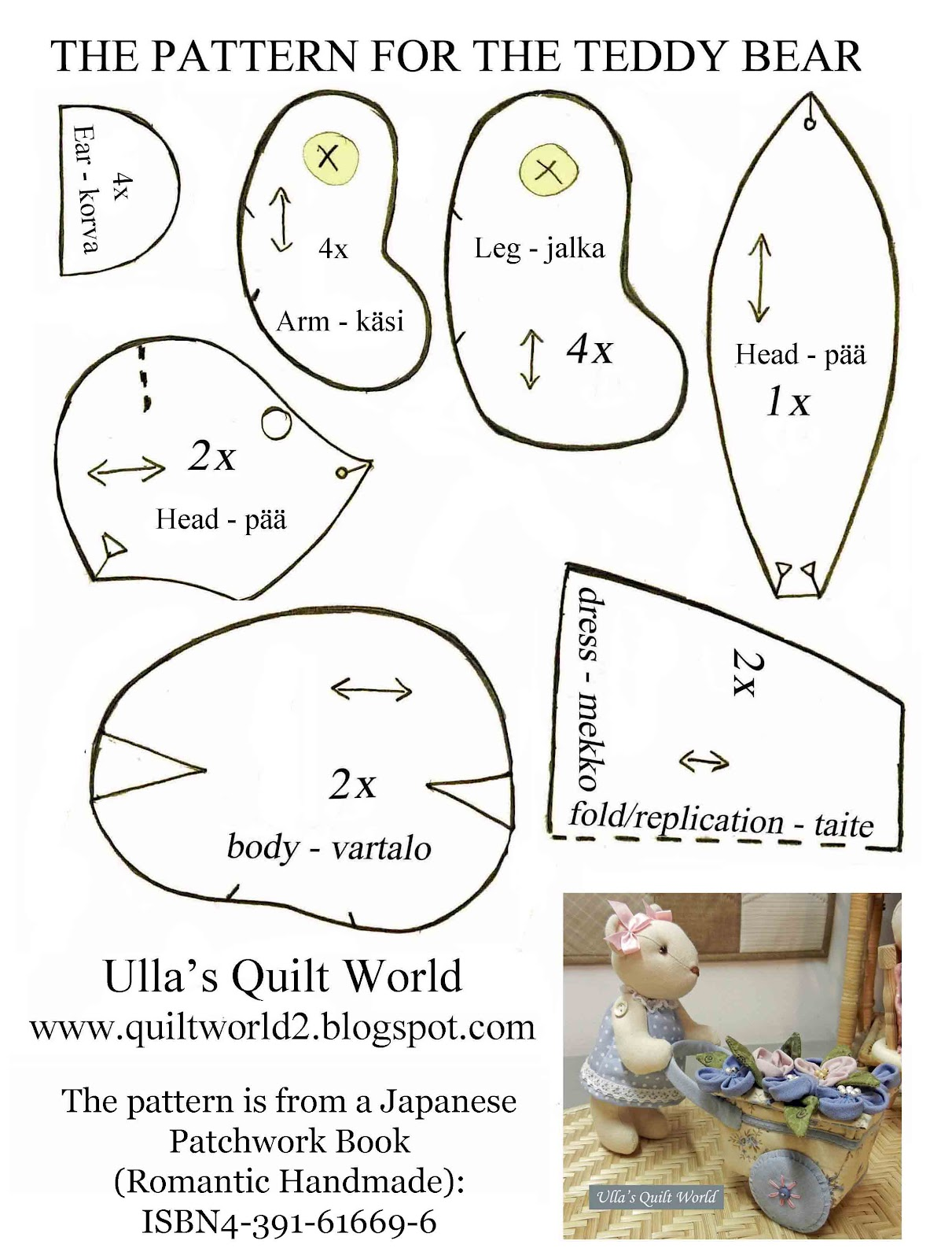 Ulla S Quilt World Quilted Teddy Bears Pattern