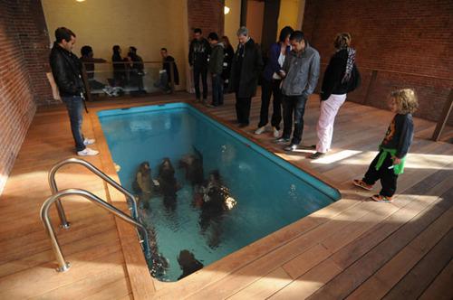 foto tirada de dentro da piscina mas na verdade esta seco e arte moderna exposicao