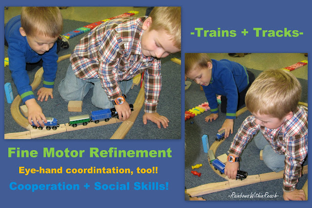 preschool boys, trains, track, fine motor, sharing, playing, eye hand coordination