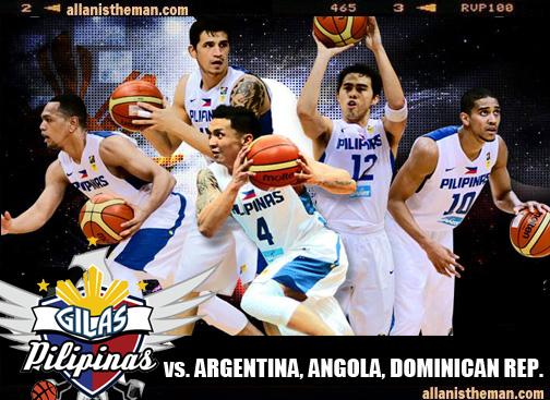 Gilas Pilipinas Philippines vs Argentina, Angola, Dominican Republic