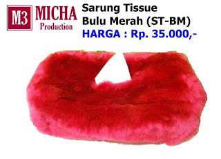 Sarung Tissue Merah Bulu