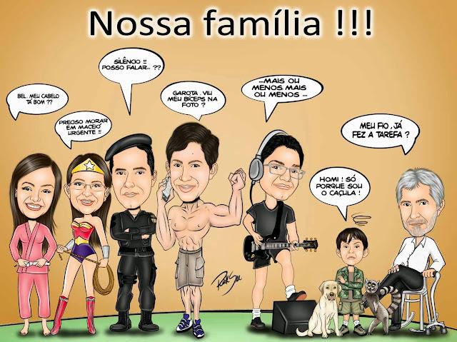 caricatura de familia com ricksu caricaturas