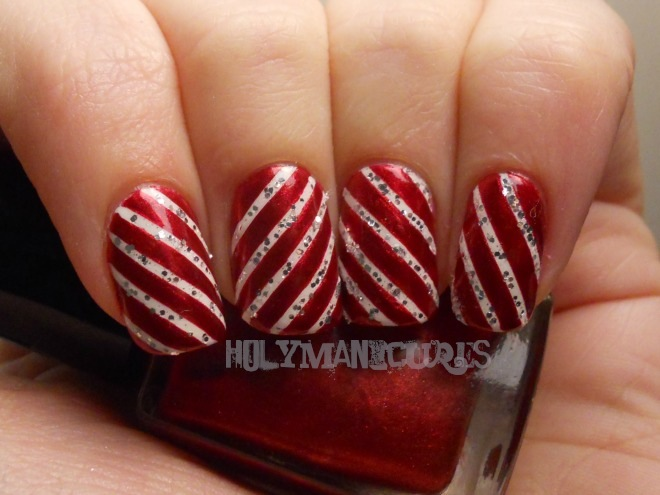 Holy Manicures Sparkly Candy Cane Nails