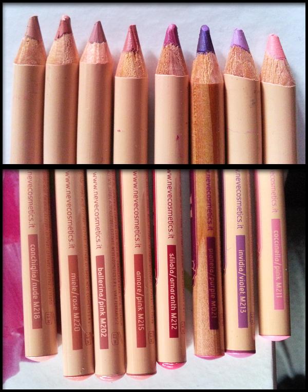 Neve Cosmetics - Pastello labbra - Conchiglia Nude; Miele Rose; Ballerina Pink; Amore Pink; Sfilata Amaranth; Pianeta Purple; Invidia Violet; Coccinella Pink