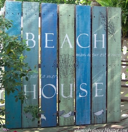 Wood Pallet Is Transformed Into A Beach Sign With Saying By Whimsy