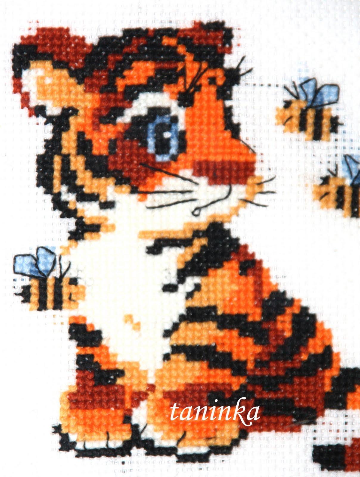 схема вышивки тигр,п