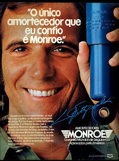 propaganda amortecedores Monroe -  com Emerson Fipaldi - 1979