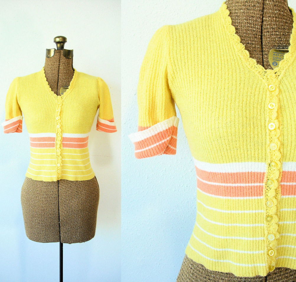 yellow vintage cardigan #vintage #sweater