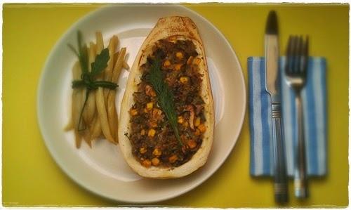 kabaczek, kabaczek faszerowany, cukinia, kasza kuskus, danie wegetariańskie, przepis na obiad