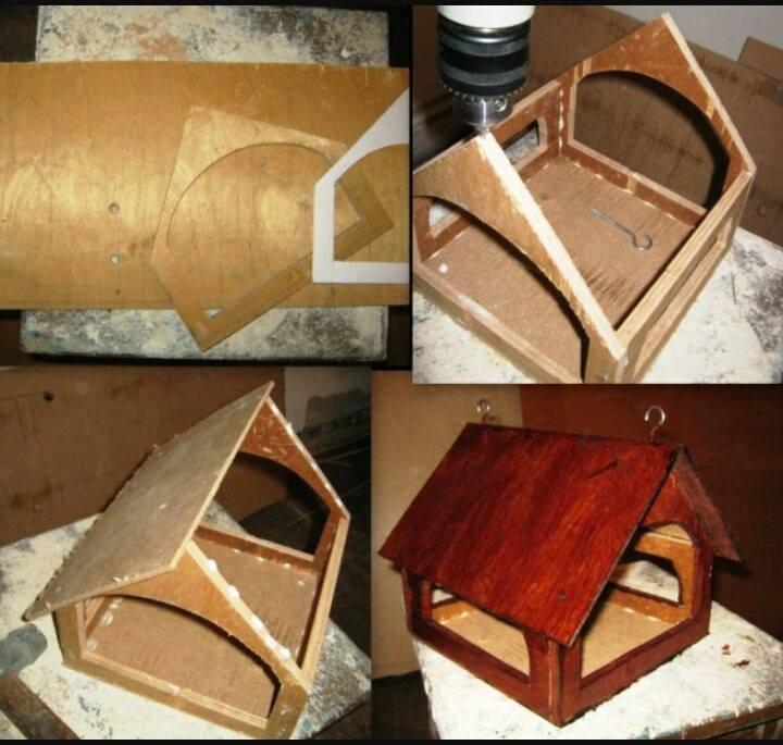 Как сделать деревянную кормушку для птиц своими 5