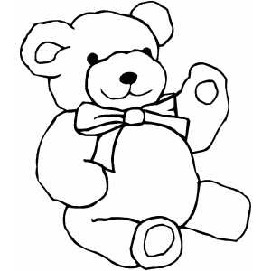 Christmas teddy bear decorated coloring page picture for kids to draw colors