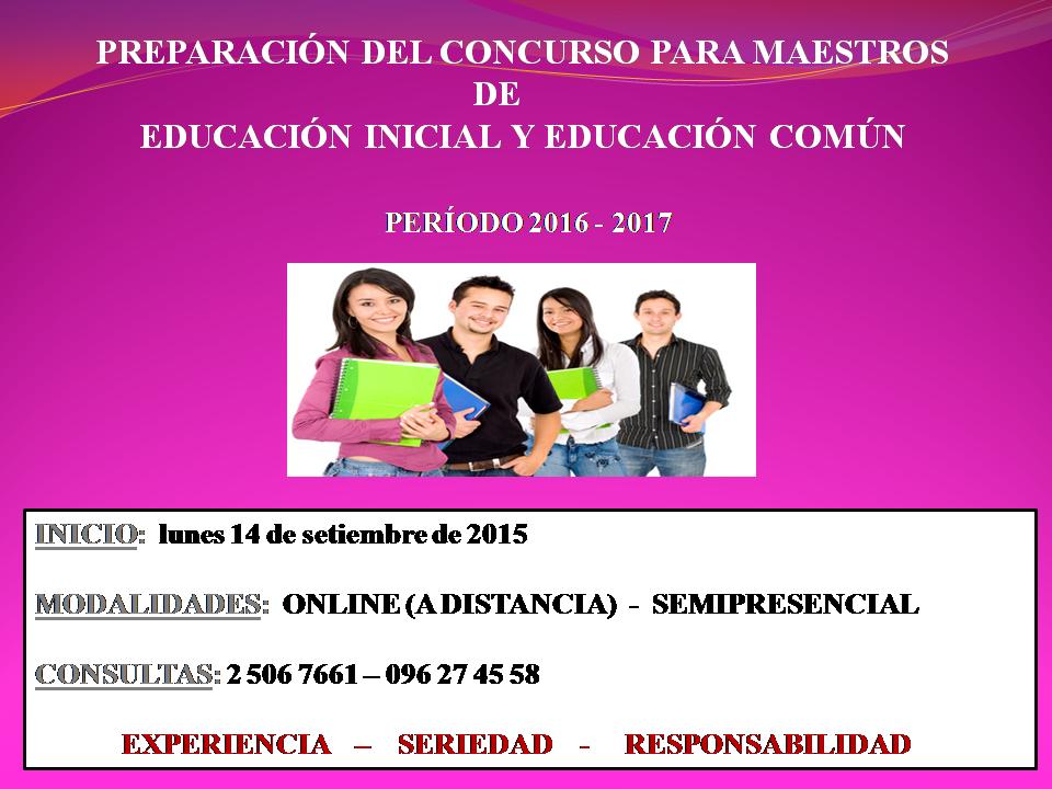 Curso de preparaci n del concurso para maestros de for Concurso para maestros