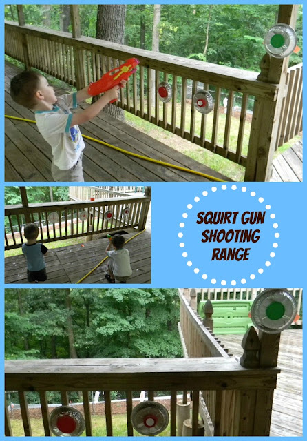 squirt gun shooting range by http://readysetread2me.blogspot.com,  summer fun activities, activities for boys
