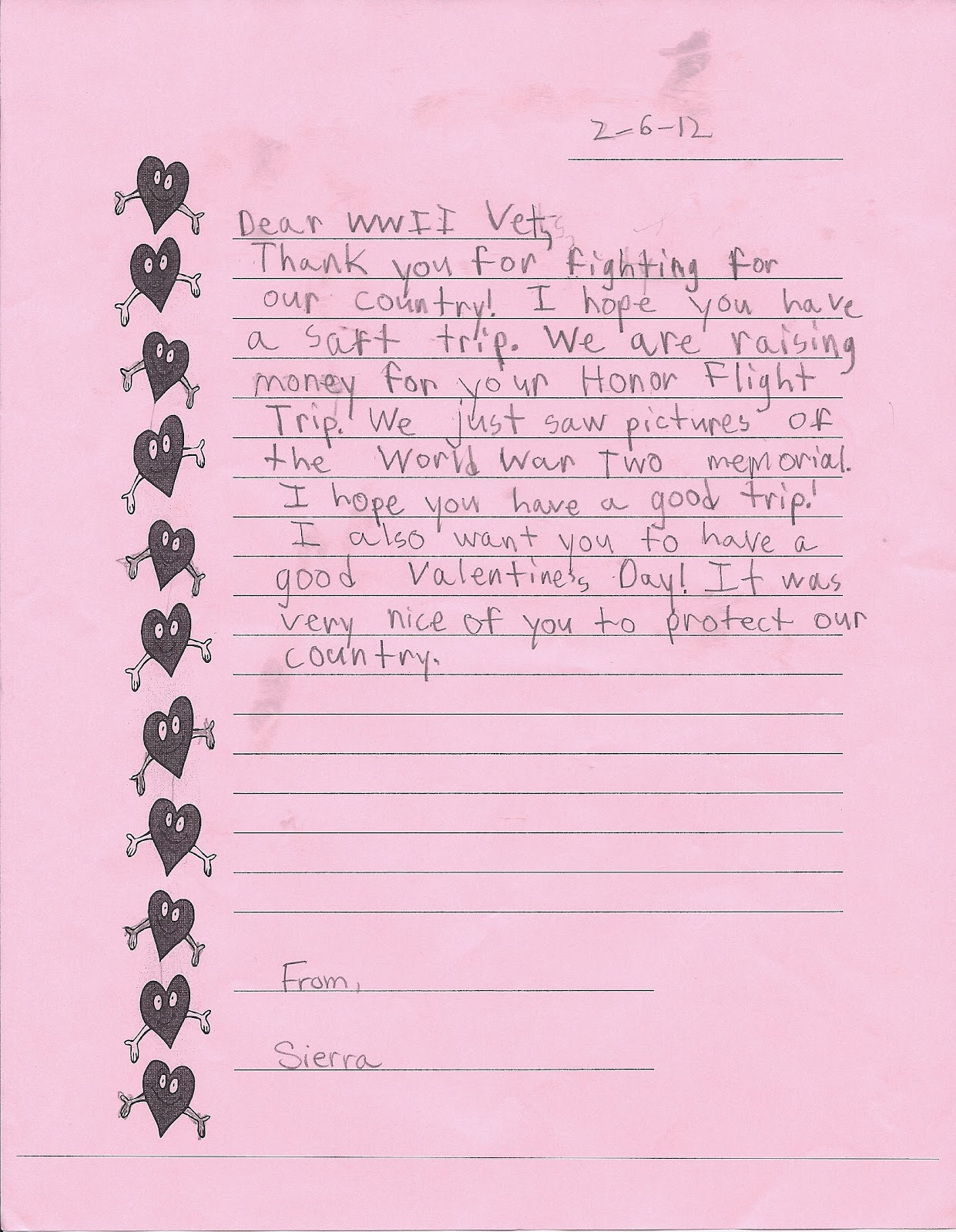 writing letters to veterans