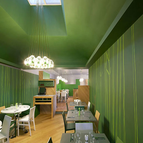 Cozy Elegant Green Restaurant Interior Design
