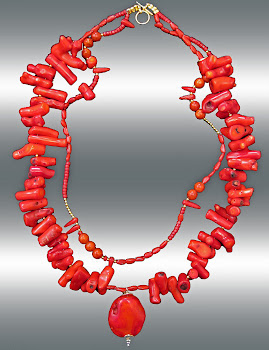 Delicious Red Coral Necklace 2Strand XL In Style