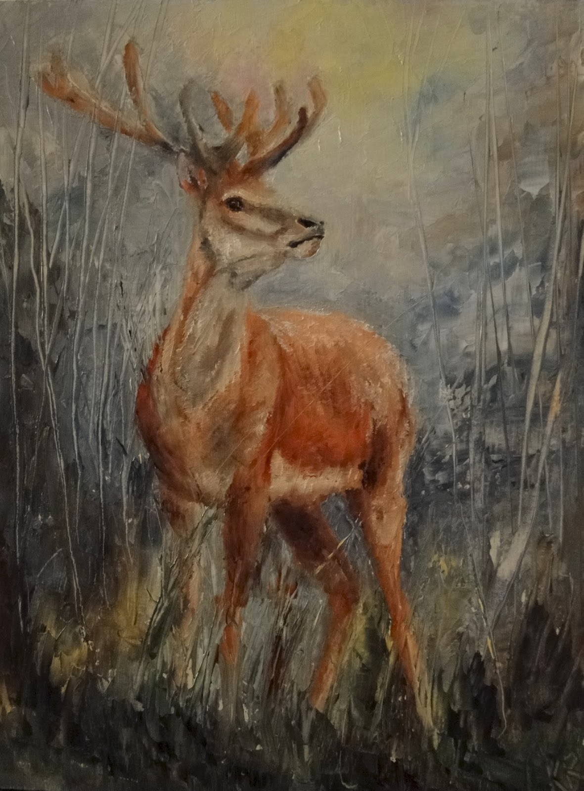 oil painting of a stag in dawn light by pet portraits by karen of Devon