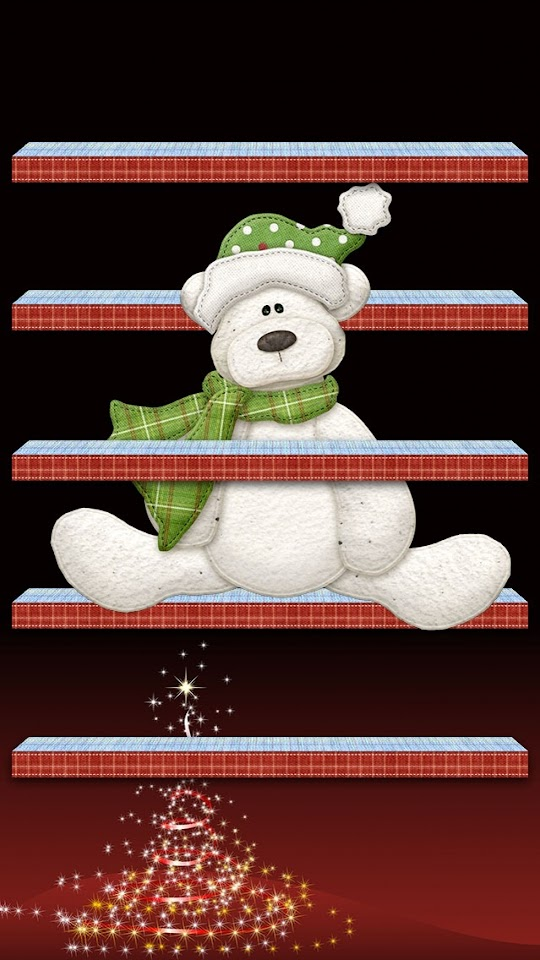 Christmas Shelves and Bear  Galaxy Note HD Wallpaper