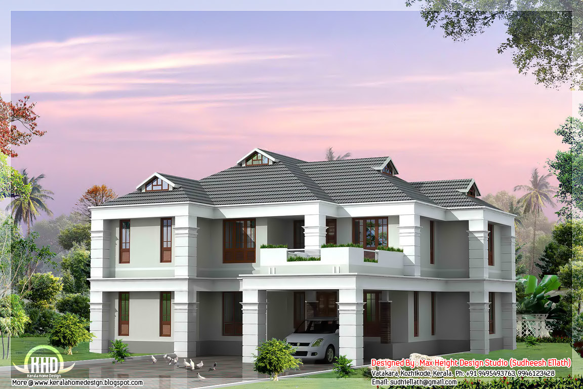 4 bhk sloping roof house design architecture house plans for Slanted roof house plans