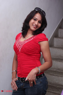 Zita Mariya  Picture Gallery in Red Tight Top and Jeans at Kandanam Movie Launch Function  0003