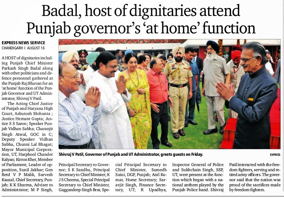 Badal, host of dignitaries attend Punjab governor's 'at home' function