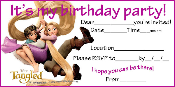 Free Printable Tangled Birthday Invitations