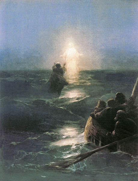"Image:  Public Domain - Ivan Aivazovsky - Jesus and Peter:  ""Walking On Water"""