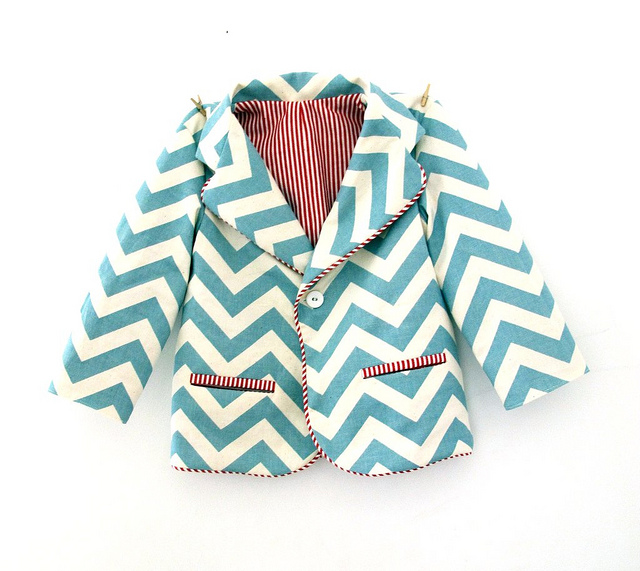 Mint blue and white chevron / zigzag toddler blazer by Cirque du Bebe