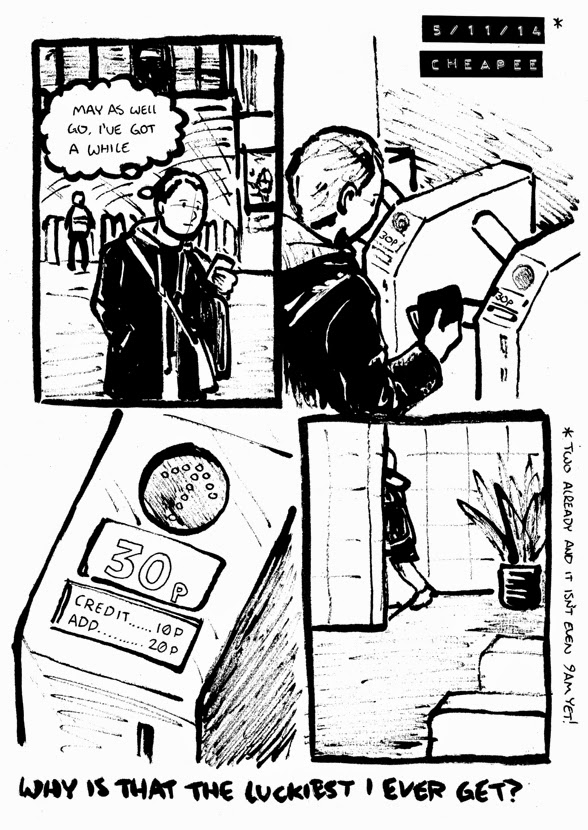 comic about finding ten pence credit at a station pay toilet; being the best luck Alex gets