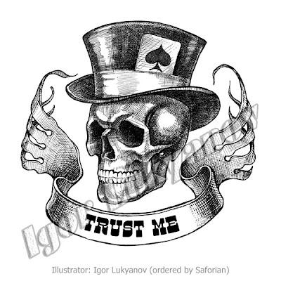 dessin tête de mort (crâne / tete osseuse) par hachures croisées
