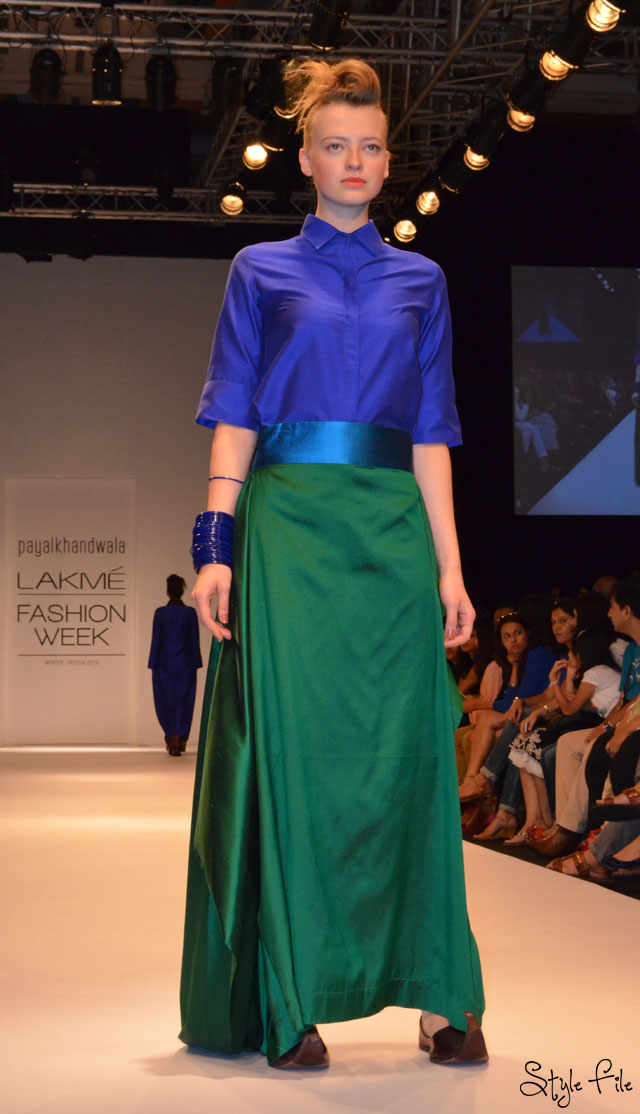 lakme fashion week payal khandwala mojris jewel tones blue green emerald cobalt