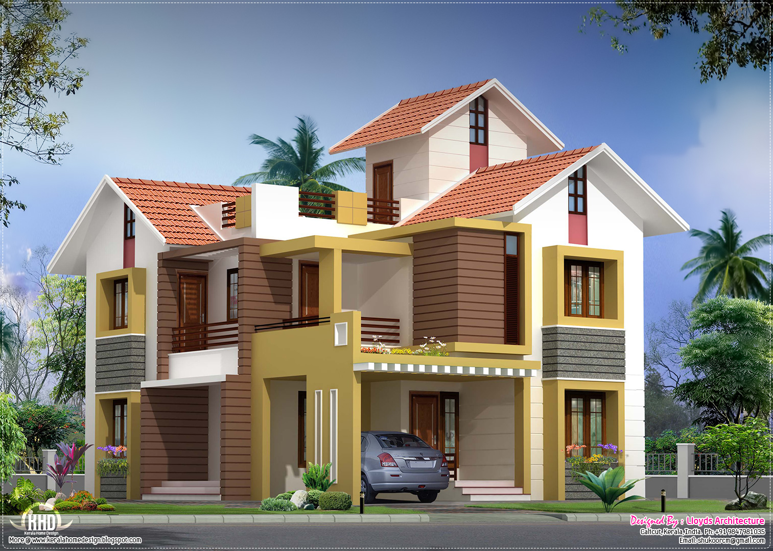 Beautiful villa plan and elevation 1839 sq ft bed for Beautiful villas pics