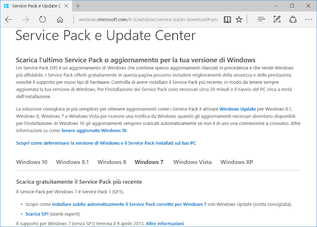 Pagina download Service Pack e Update Center Windows