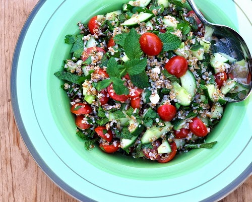Ina Garten's Tabbouleh Salad, easy salad with bulgur wheat, cucumber, tomato, green onion, fresh parsley, fresh mint. Recipe hint: the secret ingredient is ... !