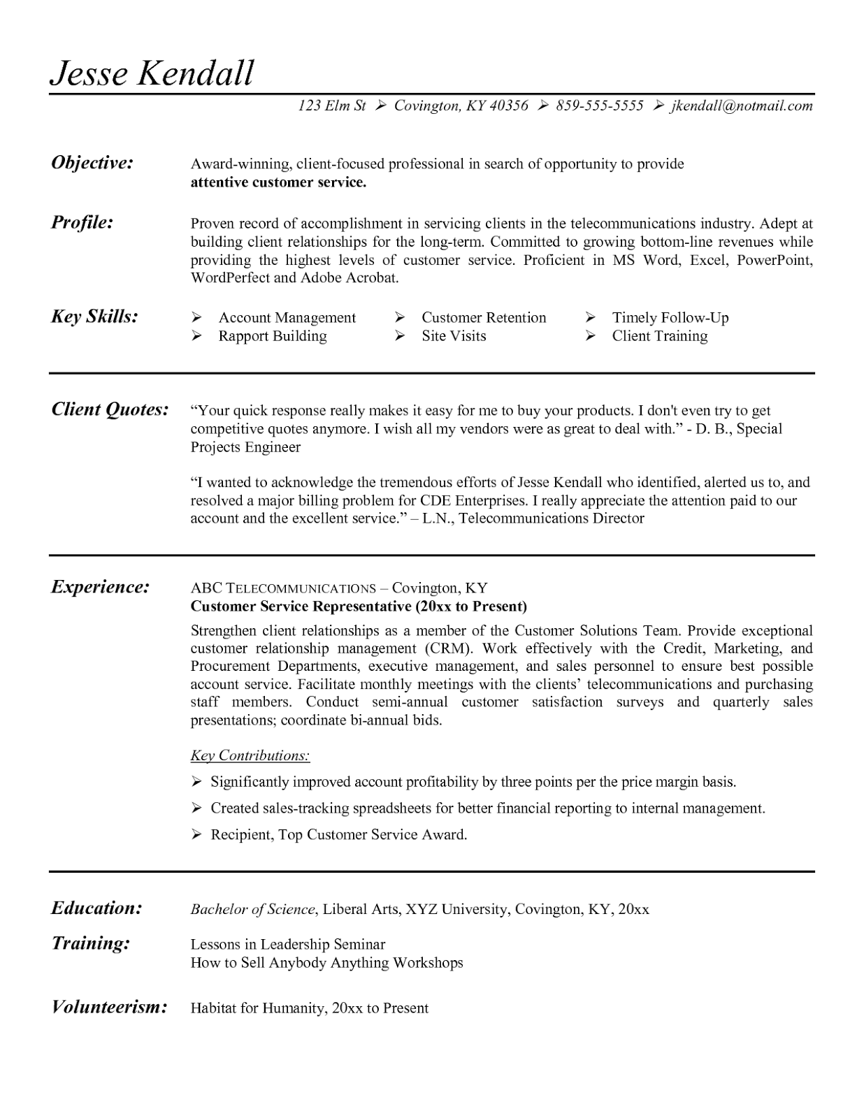 Example Customer Service Resume Sample - Tipss und Vorlagen