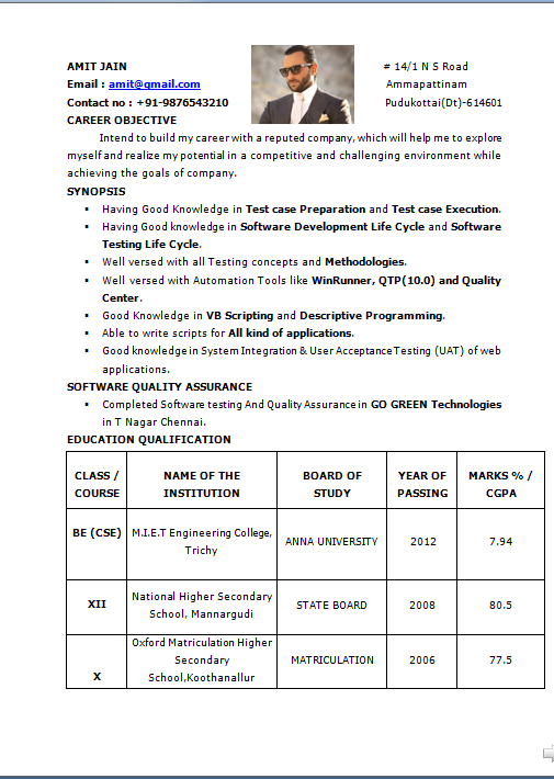 Resume educational qualification