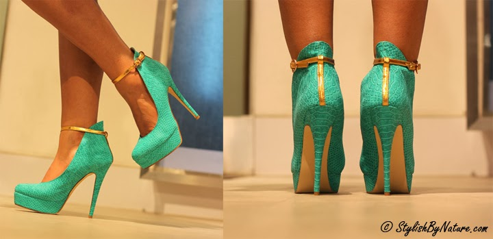 snake textured green stiletto