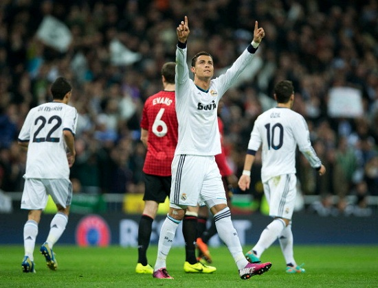 Cristiano Ronaldo hands up after scoring against Manchester United