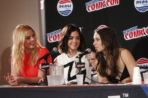 Sasha Pieterse, Lucy Hale and Troian Bellisario at New York Comic Con
