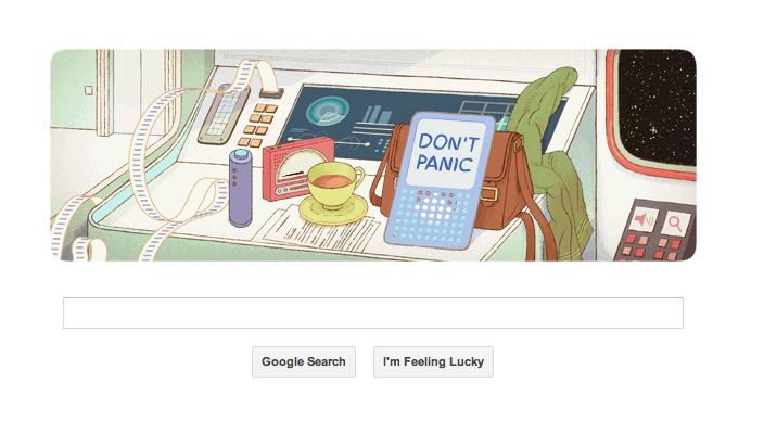 Douglas Adams 61st birthday doodle