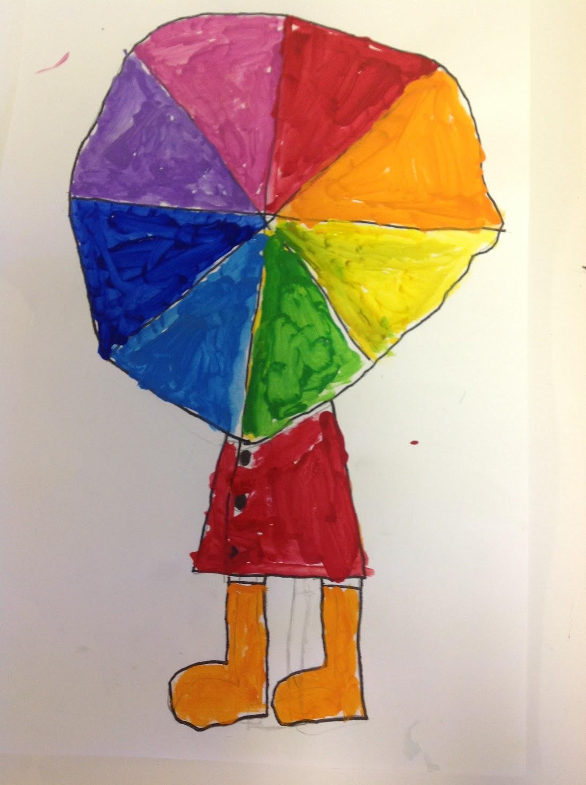 Color wheel art lesson for second grade - Color Wheel Umbrellas