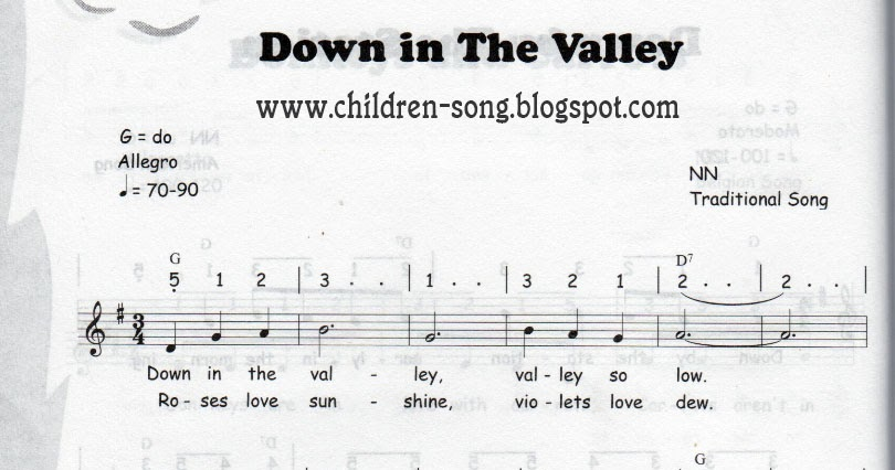 Down in the Valley Children Song with Notes and Chords