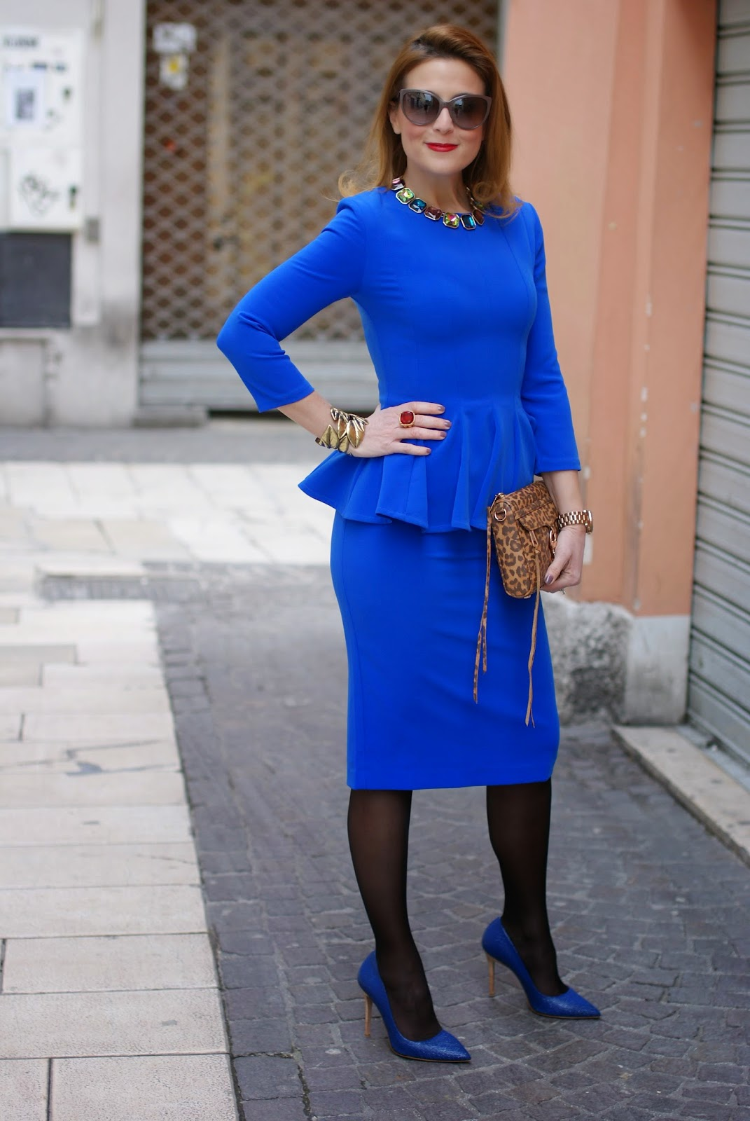 Isabel Garcia peplum dress with midi skirt, sheer tights with heels, Rebecca Minkoff mini MAC clutch in leopard, Fashion and Cookies fashion blog, fashion blogger