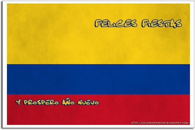 BANDERA DE COLOMBIA CON MENSAJE FELICES FIESTAS