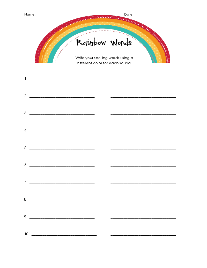 buggy for second grade rainbow spelling