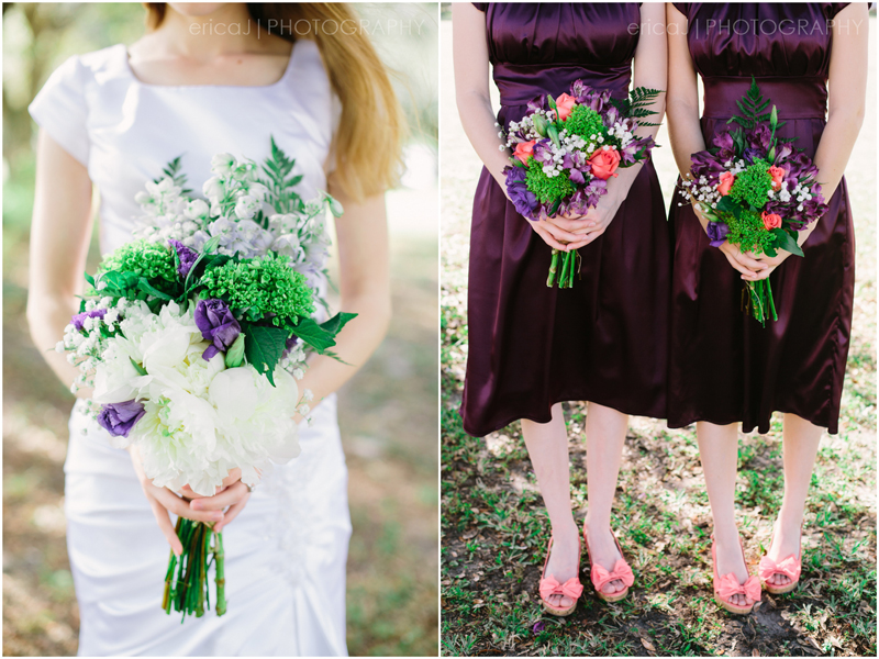 bride and bridesmaids holding purple bouquets