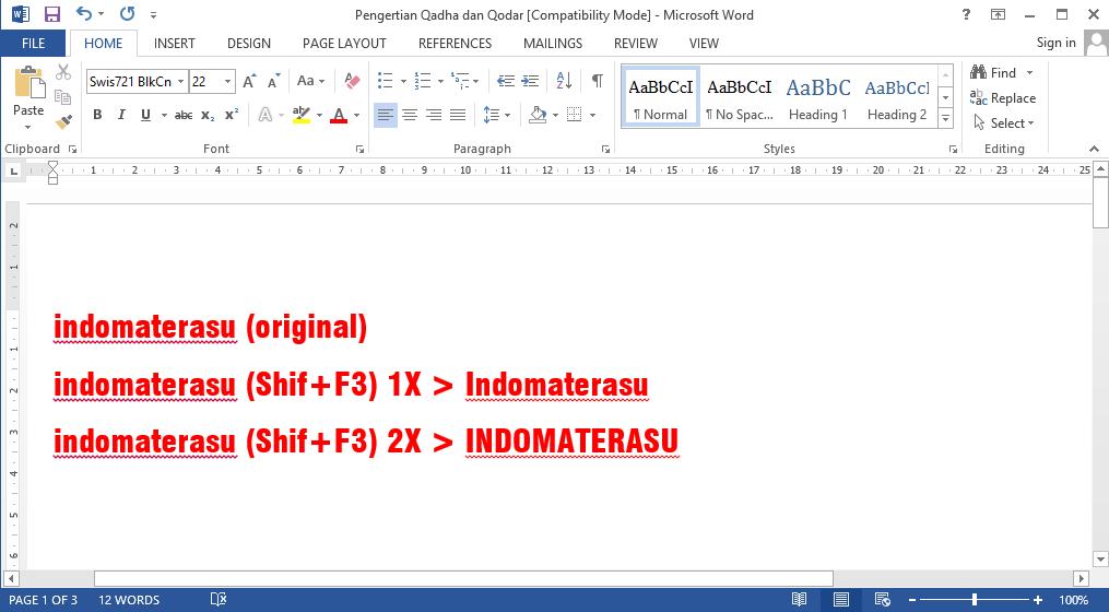 Mengubah Huruf Kecil Menjadi Besar Secara Otomatis Pada Micrososft Office