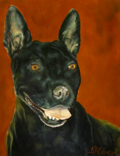 """Wiggles"",  dog, commissioned pet portrait"