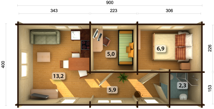 Casas de madera baratas bungalow molly1 de madera n rdica for Casetas exterior baratas